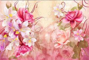 Композиция из розовых цветов