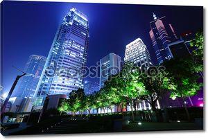 Деловой район Гонконг ночью