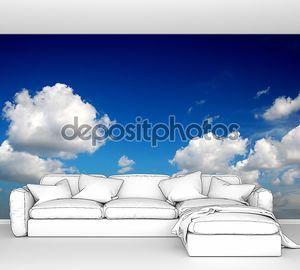 Голубое небо с хлопка как облака