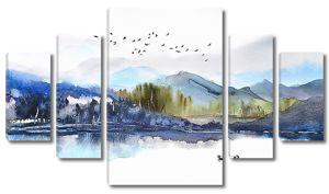 Сопки и озеро акварелью