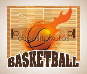 Фон с мячом и баскетбольной площадкой