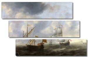 Беллевойс Якоб Адрианс. Турецкая галера и голландское судно у берега