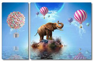 Слон на острове с шариками