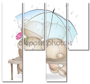 два медведя любителей, сидящие на скамье под зонтиком