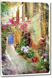 Живописные дворики Греции-произведения искусства в стиле ретро живописи