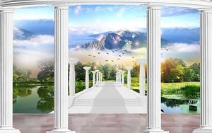Колонны, горы, мост через озеро