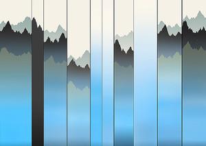 Цветные полосы с контурами гор