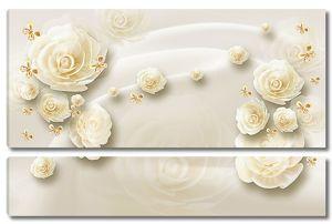 Розы на белом шелке