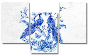 Два синих павлина. Рисунок