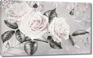 Светлые розы с темными листьями