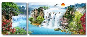 Водопад, лес, летящие птицы