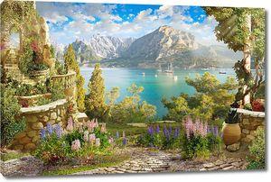 Красивый сад с множеством цветов