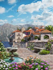 Небольшая площадь с фонтаном в старом городе