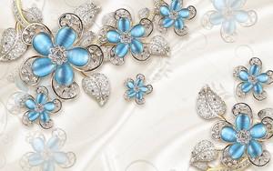 Синие позолоченные стеклянные цветы с кристаллами