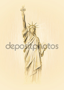 статуя Свободы нарисованный эскиз