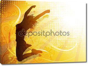 Векторный дизайн прыжки силуэт женщины