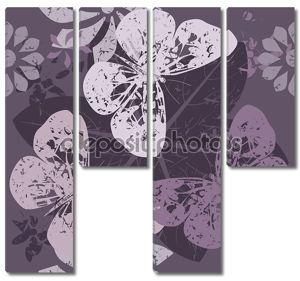 Стильный узор с силуэтами бабочка на цветение цветы