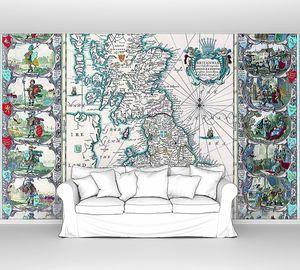 Старая карта с изображениями в голубом цвете