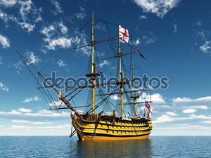 Желтый корабль с флагом