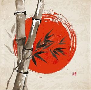 Бамбук и большое красное солнце