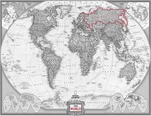Карта в черно-белом цвете