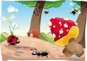 Мухомор с насекомыми