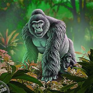 Огромная горилла с детенышем