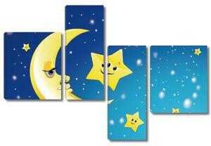 Луна и звезды улыбаются