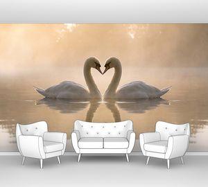 Лебеди с отражением на озере