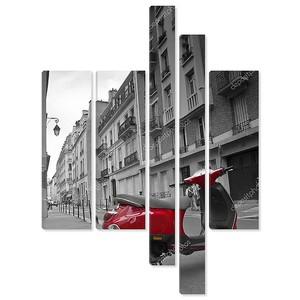 красный велосипед на улице в Париже, Франции, Европе