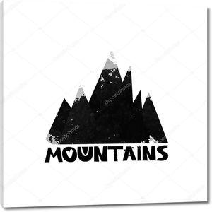 Горы. Текст надписи. Акварель силуэт черные горы. Вектор