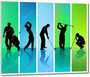 Пять игроков в гольф