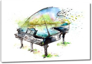 Нарисованный рояль в цветах