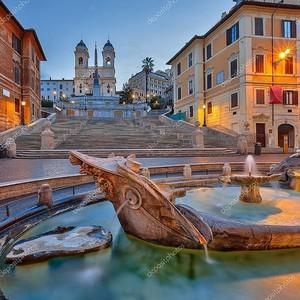 Испанская лестница в сумерках, Рим