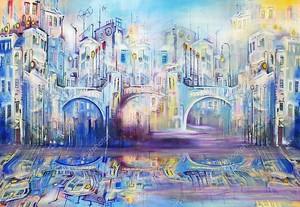 Голубой город с тремя мостами