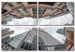 Лондонские здания, вид на небоскреб с первого этажа .