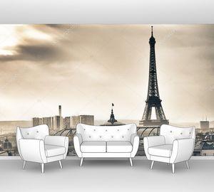 Эйфелева башня над Парижем