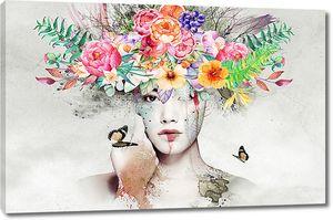 Букет цветов на голове у девушки