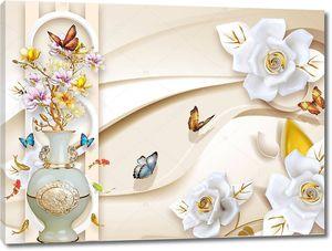 Бутоны роз, керамическая ваза с розовыми и желтыми цветами