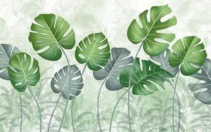 Тропические зеленые листья на светло-зеленом мраморном фоне