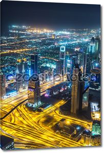 Дубай центре ночная сцена с огни города,