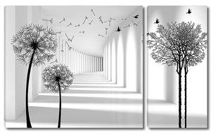 Тоннель с одуванчиками и деревом
