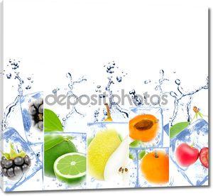 Лед в кубиках с фруктами