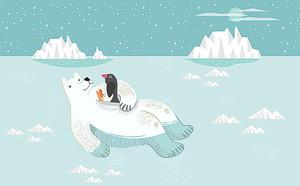 Белый медведь с пингвиненком