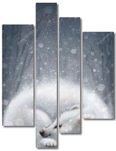Белый медвежонок спит в берлоге
