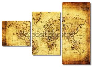 Древняя полустертая карта мира