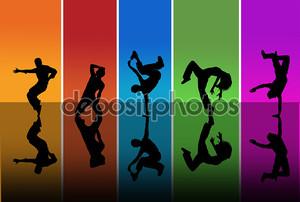 Силуэты танцоров на фоне радуги