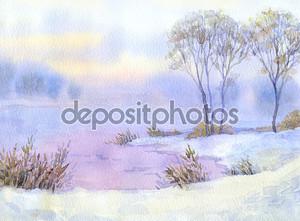Акварель пейзаж. Зимняя ночь на озеро и деревья