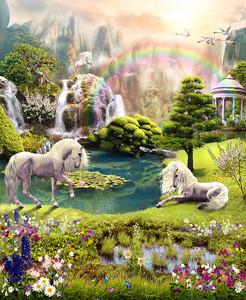 Единороги в лесу с радугой