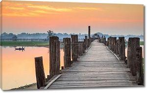 Ubein мост на восход солнца, Мандалай, Мьянма